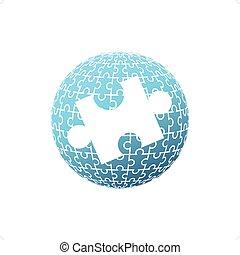 puzzle, globo