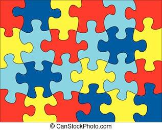 puzzle, illustrazione, pezzi, colori, fondo, autism, consapevolezza