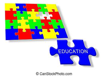 puzzle, jigsaw, educazione, colorito