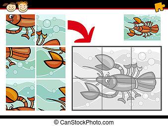 puzzle, jigsaw, gioco, cartone animato, aragosta