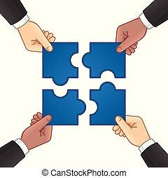 puzzle, jigsaw, mani, uomo affari, connettere