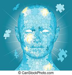 puzzle, jigsaw, testa, pezzi