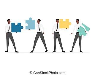 puzzle., persone, africano, connettere