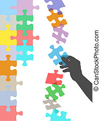 puzzle, prese, mano, risolvere, cadere, pezzo