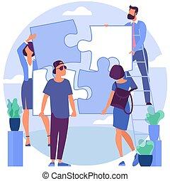 puzzle, risolvere, persone