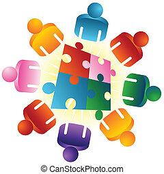 puzzle, risolvere, roundtable, squadra