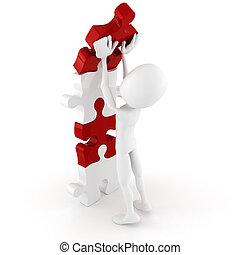 puzzle, spinta, posto, uomo, pezzo, relativo, 3d