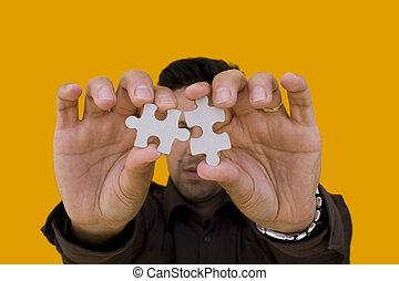 puzzle, uomo, puzzle), (focus