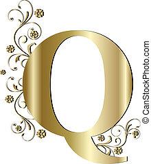 q, lettera, oro, capitale