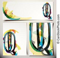 q, scheda, artistico, lettera, augurio