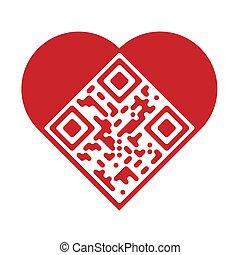 qr, amore, artistico, codice