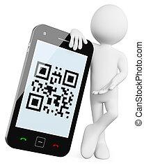 qr, mobile, -, codici, 3d, uomo