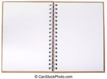 quaderno, aperto, pagine, vuoto