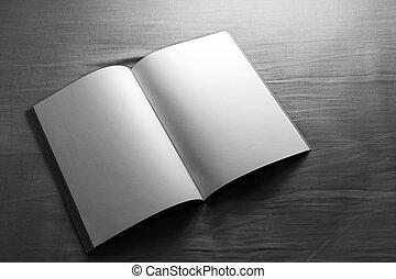 quaderno, aperto, vuoto