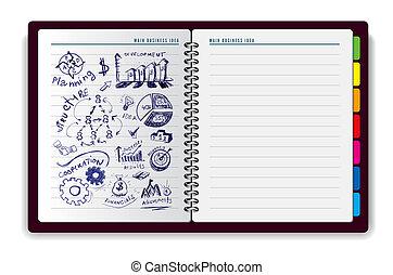 quaderno, creativo, idea