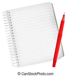 quaderno, penna, rosso