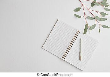 quaderno, ramo, vista superiore, aperto, penna, vuoto, scrivania, pianta, pagine