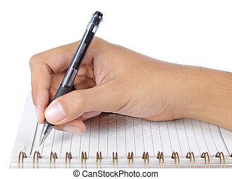 quaderno, scrittura mano