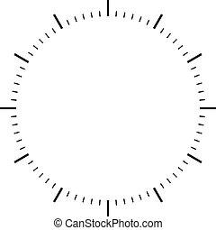 quadrante, orologio, nero, segni