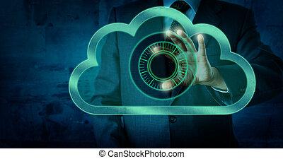 quadrante, serratura, virtuale, direttore, toccante, nuvola