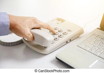 quadrante, telefono ufficio, fondo, digitale, uomo affari