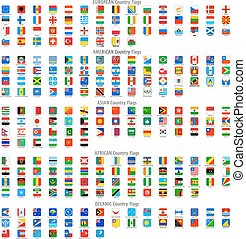 quadrato, arrotondato, icone, bandiera nazionale, vettore