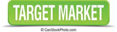 quadrato, bersaglio, bottone, isolato, realistico, mercato verde, 3d