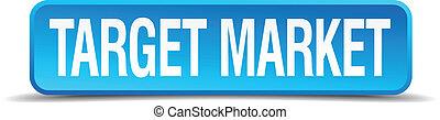 quadrato blu, bersaglio, bottone, isolato, realistico, mercato, 3d