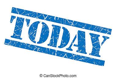 quadrato blu, grunge, francobollo, isolato, textured, oggi