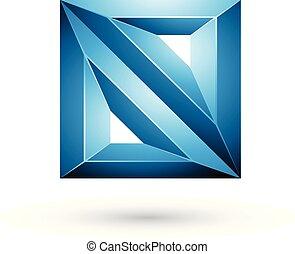 quadrato blu, illustrazione, figura geometrica, vettore, stampato in rilievo, triangoli, 3d