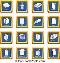 quadrato blu, pacchetto, icone, vettore, set, tipi