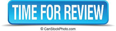 quadrato blu, revisione, isolato, realistico, tempo, bottone, 3d