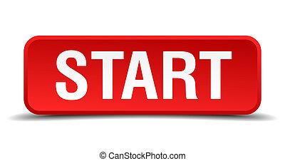 quadrato, bottone, isolato, inizio, bianco rosso, 3d