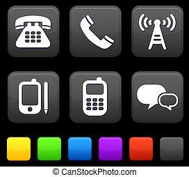 quadrato, bottoni, icone tecnologia, internet