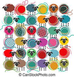 quadrato, collegamento, astratto, sheep, palle, filato, composizione