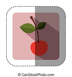 quadrato, colorito, ciliegia, adesivo, frutta, bottone