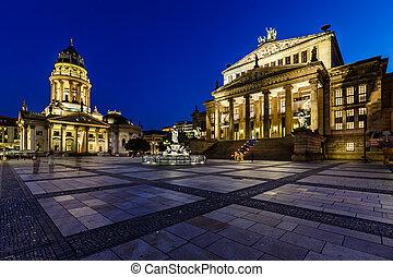 quadrato, concerto, tedesco, gendarmenmarkt, germania, berlino, cattedrale, notte, salone