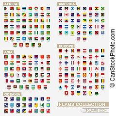 quadrato, continenti, alphabetical., collezione, bandiere, fascicolato, mondo