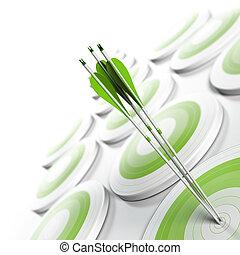 quadrato, effetto, competitivo, strategico, format., obiettivi, vantaggio, concept., tre, sbiadimento, offuscamento, bianco, immagine, affari, raggiungimento, marketing, centro, molti, frecce, verde, obiettivo, o