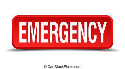 quadrato, emergenza es. emergenza modulo polveri, isolato, fondo, bianco rosso, 3d