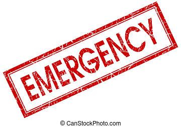 quadrato, emergenza, francobollo, isolato, fondo, bianco rosso