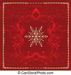 quadrato, fiocco di neve, rosso