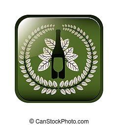 quadrato, foglie, corona, coltelleria, bottiglia, bottone, vino