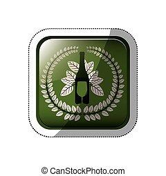 quadrato, foglie, corona, coltelleria, bottone, bottiglia, adesivo, vino
