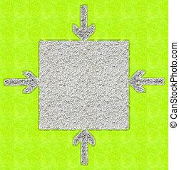 quadrato, frecce, indicare