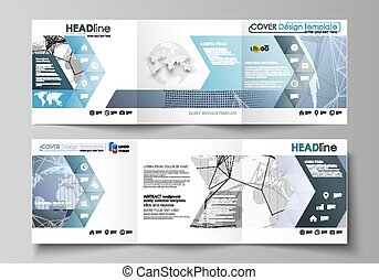 quadrato, globo, moderno, coperchi, disegno, rete, flyer., due, creativo, collegamenti, mascherine, globale, blue., editable, illustrazione, layout., minimalistic, opuscolo, mondo, dots., linee, vettore, o