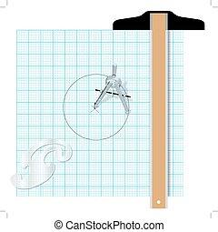 quadrato, goniometro, redazione, ingegneria, t, bussola, attrezzi