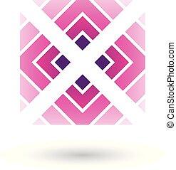 quadrato, illustrazione, vettore, lettera x, magenta, triangoli, icona