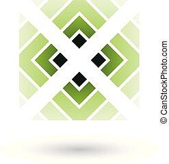 quadrato, illustrazione, vettore, verde, lettera x, triangoli, icona