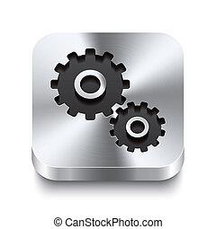 quadrato, ingranaggio, metallo, bottone, -, perspektive, icona